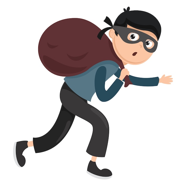Vector illustration of thief Premium Vector