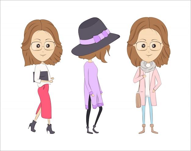 Vector illustration of three fashion cartoon girls Premium Vector