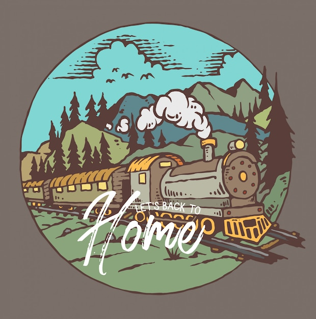 Vector illustration of train with mountain background Premium Vector