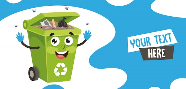 Vector illustration of trash bin Premium Vector