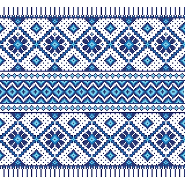 Vector illustration of ukrainian folk seamless pattern ornament. ethnic ornament. border element. traditional ukrainian, belarusian folk art knitted embroidery pattern - vyshyvanka Free Vector