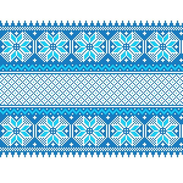 Vector illustration of ukrainian folk seamless pattern ornament. ethnic ornament. border element. traditional ukrainian, belarusian folk art knitted embroidery pattern - vyshyvanka Free Vector