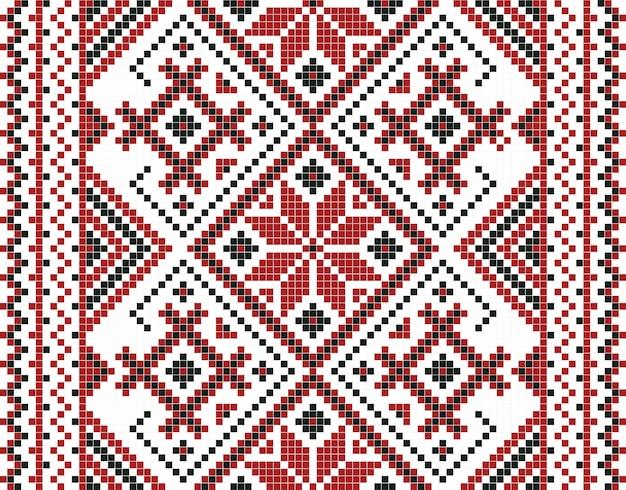 Vector illustration of ukrainian mosaic seamless pattern Premium Vector