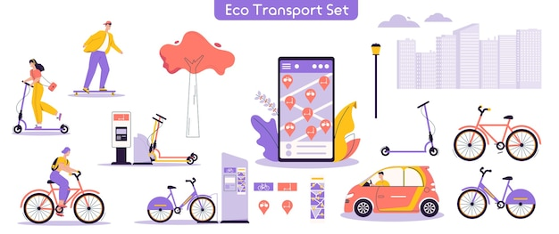 Vector illustration of urban eco transport set. bundle of character man, woman riding electric kick scooter, bicycles, skateboards, driving car, using rental service mobile app. modern urban lifestyle Premium Vector
