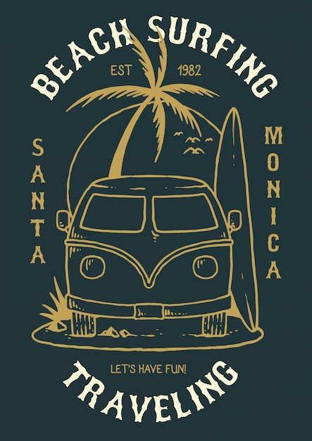 Vector illustration of vacation car with surfboad Premium Vector