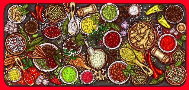Vector illustration of a variety of spices and herbs on a wooden background Free Vector