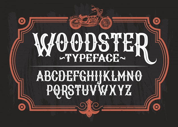 Vector illustration of a vintage font, the latin alphabet in a retro frame with a custom motorcycle. Free Vector