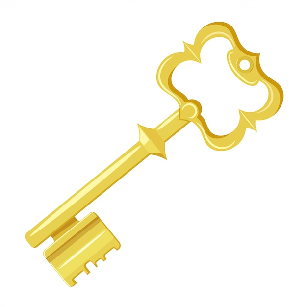 Vector illustration of vintage gold key on a white background. cartoon style. retro object for your design. stock vector Premium Vector