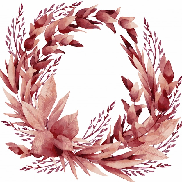 ベクトルイラスト、熱帯の葉と花の水彩画の花束 Premiumベクター