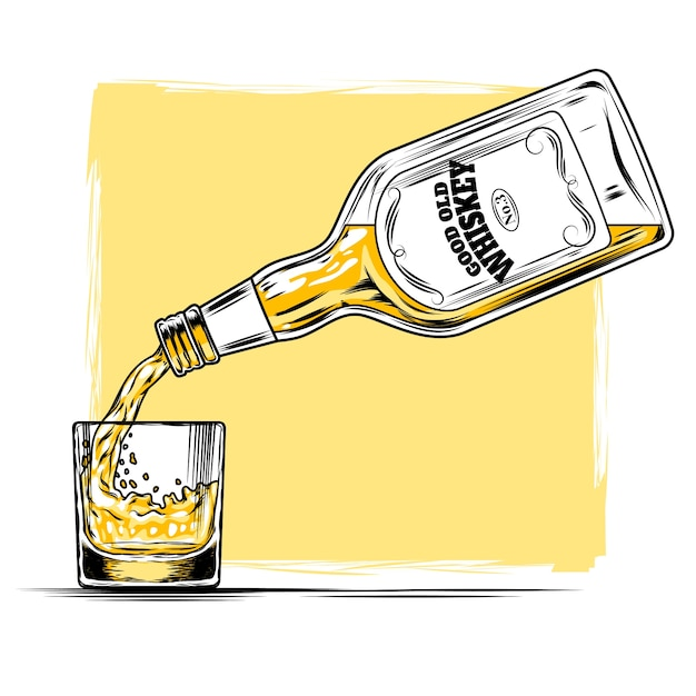 Vector illustration of whiskey and glass Free Vector