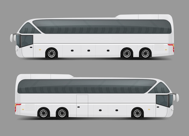 Vector illustration of a white bus in a realistic style Free Vector