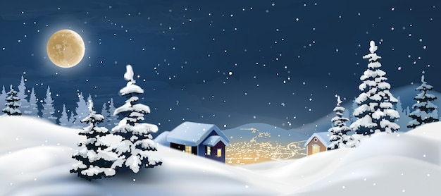 Vector illustration of a winter landscape. Free Vector