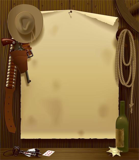 Векторная иллюстрация с плакатом реле дикого запада в окружении ковбойских аксессуаров Premium векторы