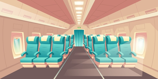 Vector illustration with a cabin of a plane, econom class seats with blue chairs Free Vector