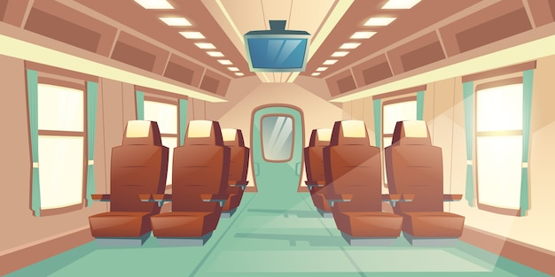 Vector illustration with a cabin of a train, seats with brown leather and tv Free Vector