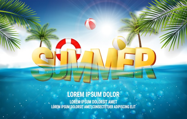Vector illustration with deep underwater ocean scene. background with realistic clouds and summer 3d text Premium Vector
