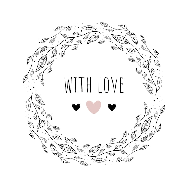 Vector illustration with floral framewith love. Premium Vector