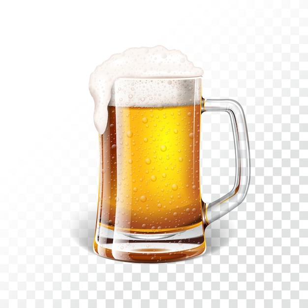 Vector illustration with fresh lager beer in a beer mug on transparent background. Premium Vector