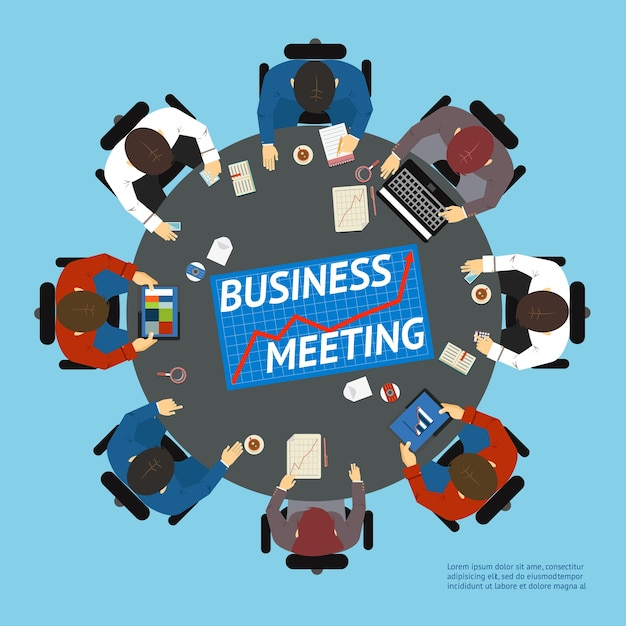 Vector illustration with an overhead view of business people at a round negotiating table with graph  charts  tablet computers and a laptop Free Vector