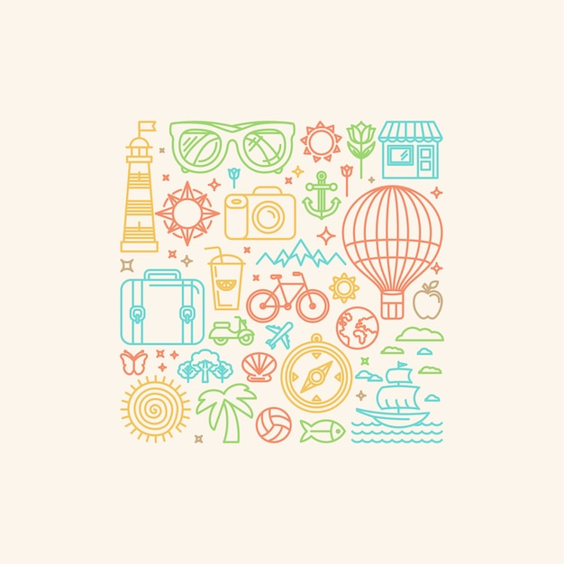 Vector illustration with summer icons Premium Vector