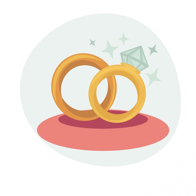 Vector illustration with wedding rings Premium Vector