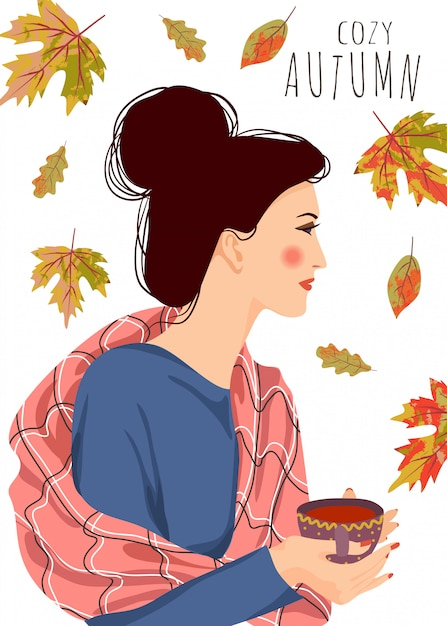 Vector illustration of woman with a cup of tea and falling leaves on a white background Premium Vector