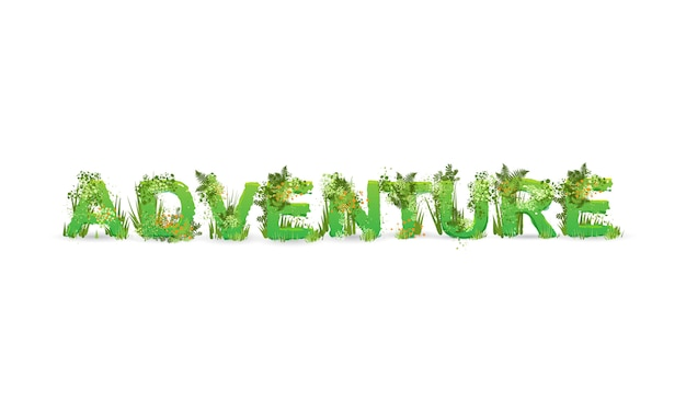 Vector illustration of word adventure  stylized as a rainforest, with green branches, leaves, grass and bushes next to them, isolated on white. Premium Vector
