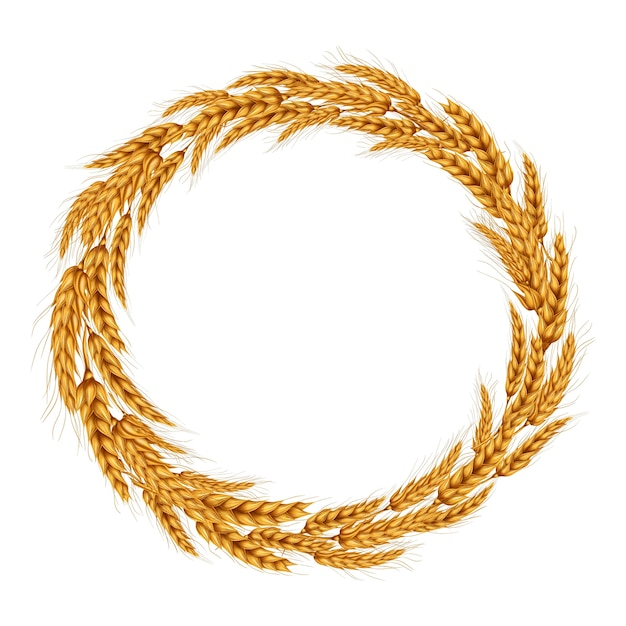 Vector illustration of a wreath of wheat spikelets. Free Vector