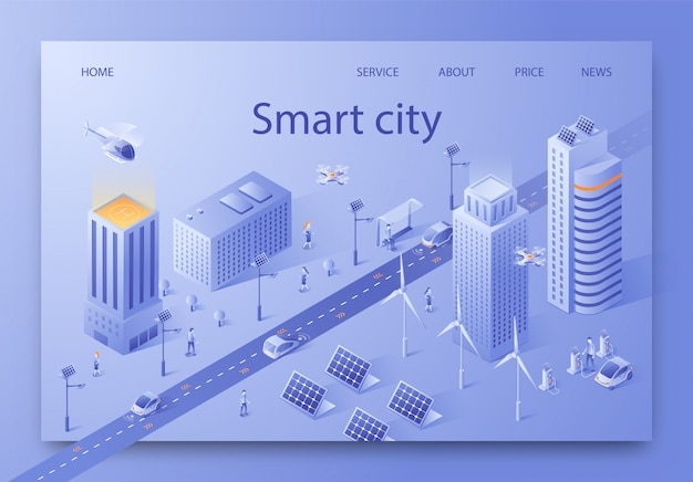 Vector illustration written smart city isometric. Premium Vector