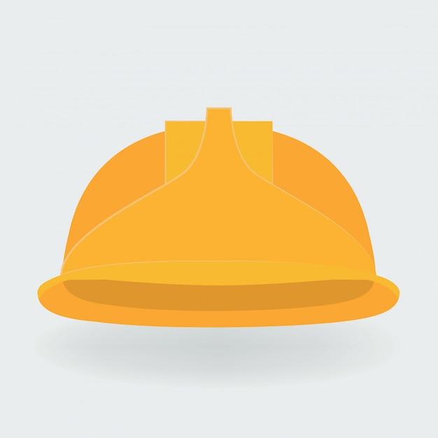 Vector illustration. yellow construction helmet. Premium Vector