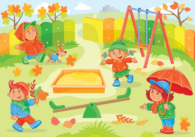 Vector illustration of young children playing Free Vector