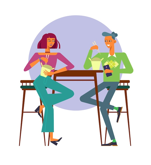 Vector illustration. young couple using food delivery, eating wok food Premium Vector