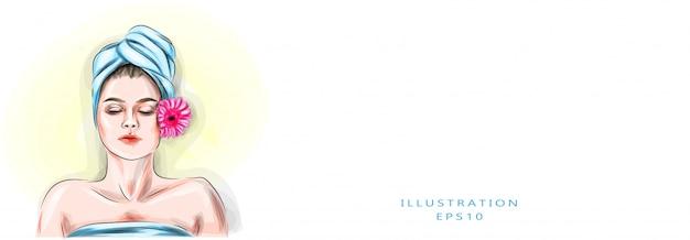 Векторная иллюстрация маленькая девочка с толстыми бровями и совершенной кожей, полотенцем на ее голове, концепцией красоты, уходом за кожей, концепцией курорта, обработкой, лицевым массажем. Premium векторы