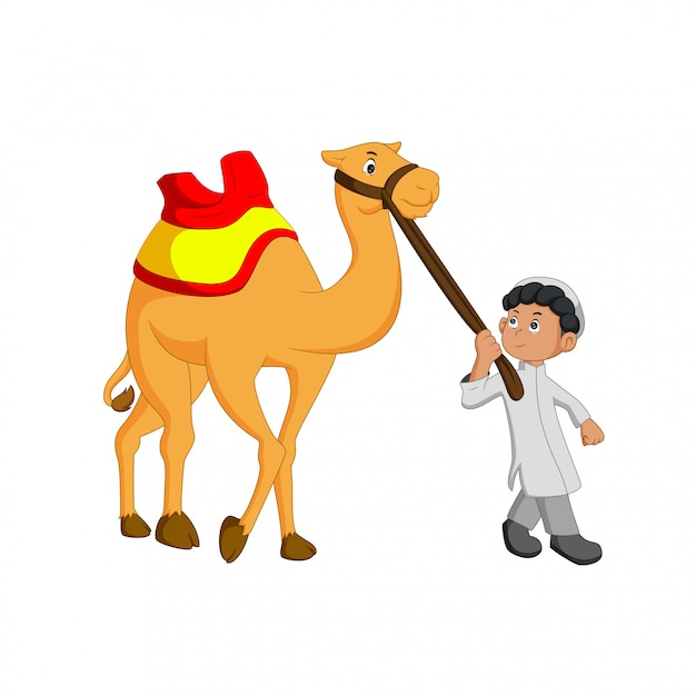 Vector illustration of young people guiding camels Premium Vector