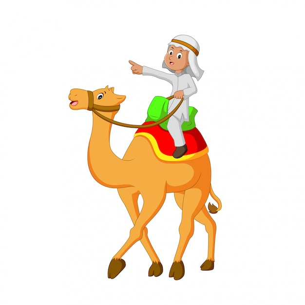 Vector illustration of young people riding camels Premium Vector