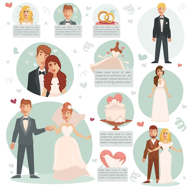 Vector illustrations bride and groom. Premium Vector