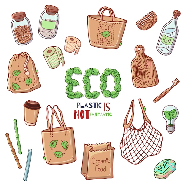 Vector illustrations on the environmental protection theme. Premium Vector