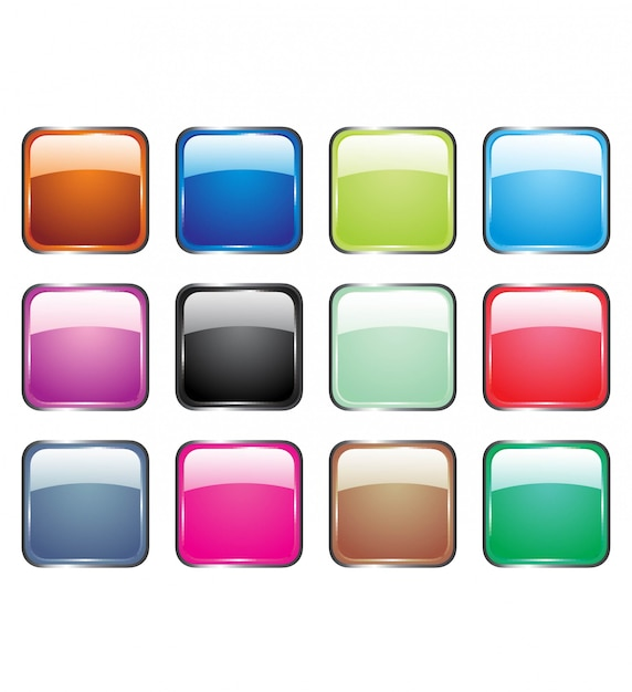 Vector illustrations of glossy glass buttons for icons. Premium Vector