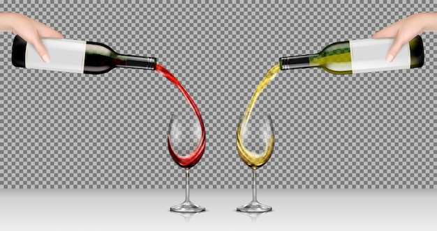 Vector illustrations of hands holding glass bottles with white and red wine and pour it into transparent glasses Free Vector