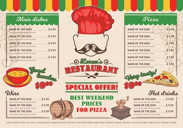Vector Illustrations Italian Restaurant Menu A Cafe Vector  Free