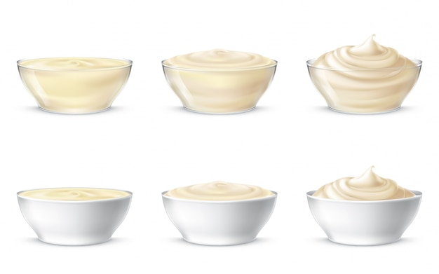 Vector illustrations of mayonnaise, sour cream, sauce, sweet cream, yogurt, cosmetic cream Free Vector