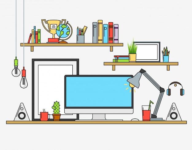 Vector illustrations of modern workspace Premium Vector