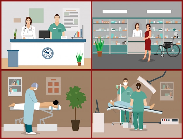 Vector illustrations set with patients, doctors and hospital interiors. health care and medicine concept. clinic reception, massage, surgery operation room Premium Vector