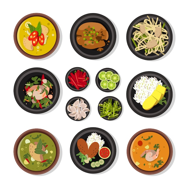 Vector illustrations of thai food Premium Vector