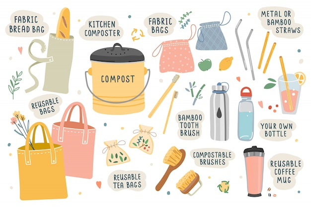 Vector illustrations of tools and things for ecological zero waste Premium Vector