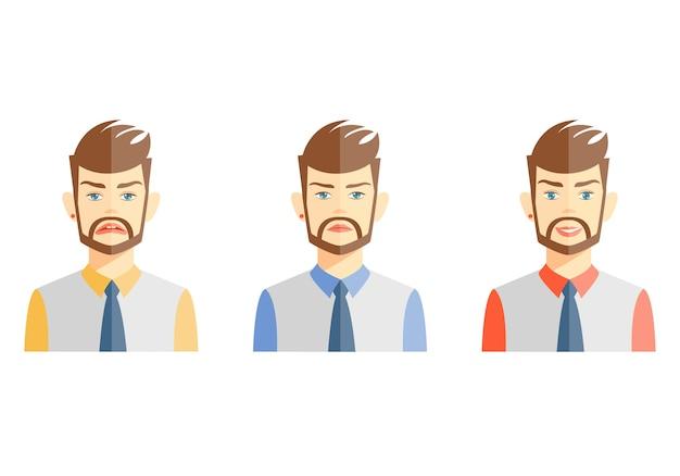 Immagini vettoriali di giovane uomo barbuto che esprimono emozioni diverse su bianco Vettore gratuito