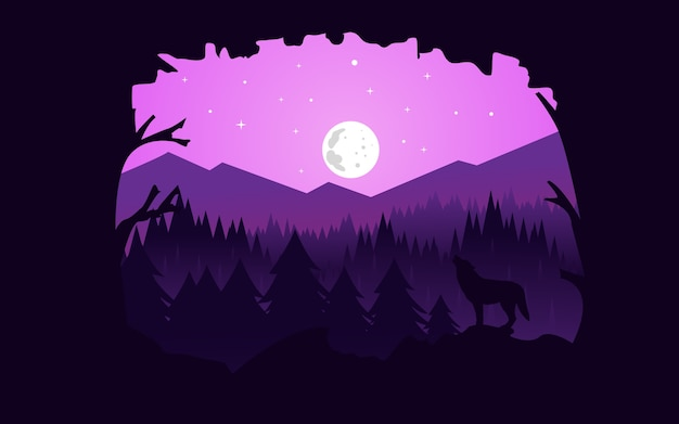 Vector illustrator : flat landscape night forest Premium Vector