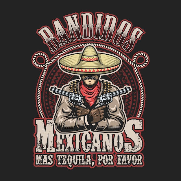 Vector illustrtion of mexican bandit print template. man with a guns in hands in sombrero with text. Free Vector