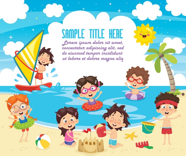 Vector ilustration of summer children Premium Vector