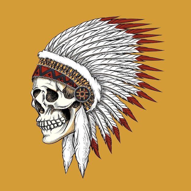 Cranio indiano di vettore. piuma e tribale, osso e scheletro, cowboy occidentale Vettore gratuito
